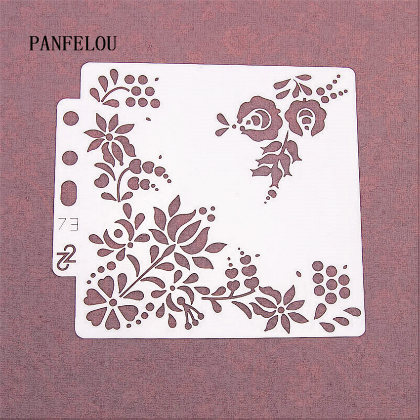 Flowers In The Cradle Scrapbook Stencils Spray Plastic Mold Shield DIY Cake Hollow Embellishment Printing Lace Ruler Valentine