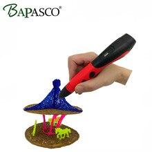 2017 Newest BAPASCO 3D Pen+120Meter PCL Filament 3D Doodler 5V/2A USB Pen 3D Model Best Puzzle Education For Kids Christmas gift