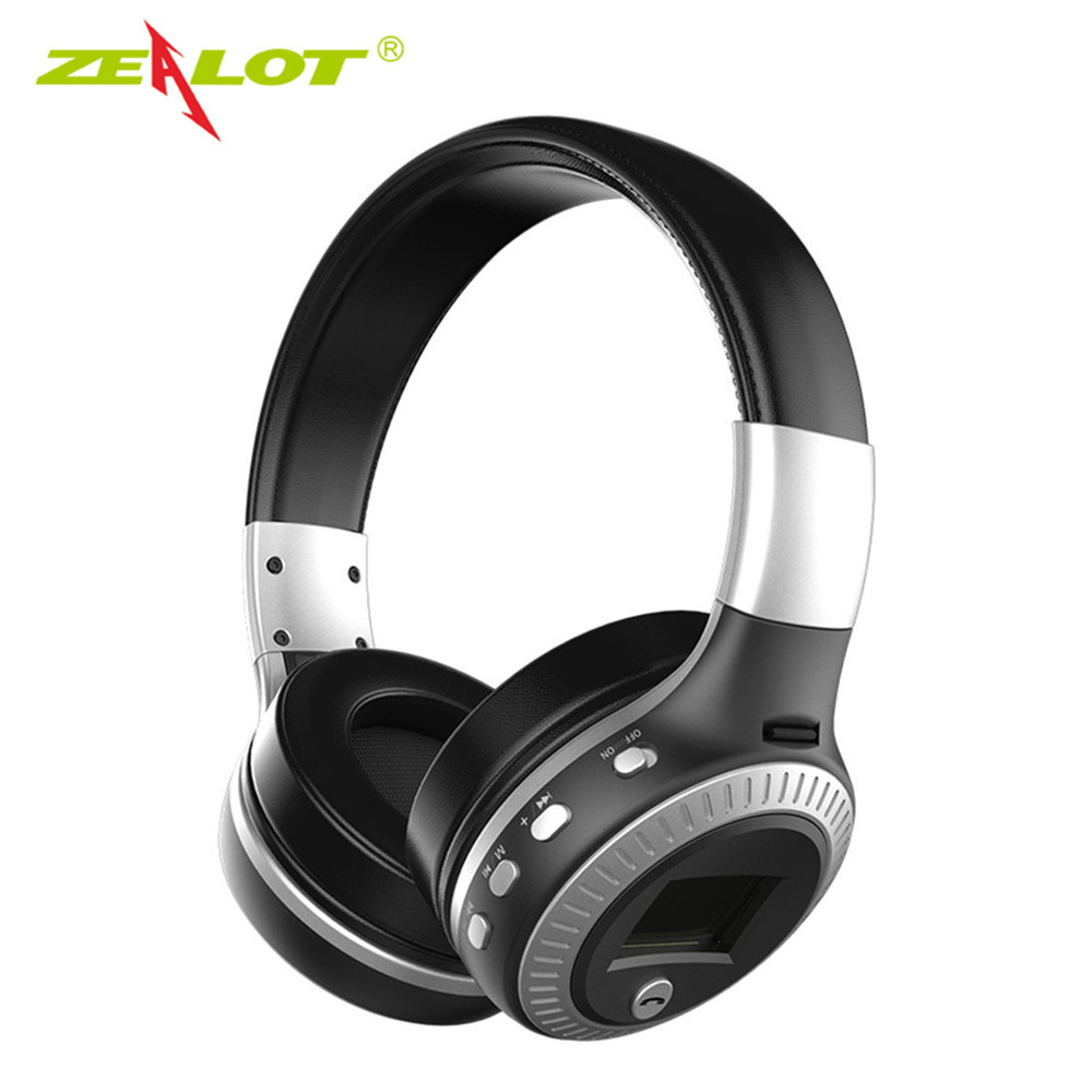 ZEALOT B19 Bluetooth Headphones Wireless Stereo Headphone with Mic Headsets Earphone Micro-SD Card Slot FM Radio For Phone & PC economic set original nia 8809s 8 gb micro sd card a set wireless headphone sport for tv with fm