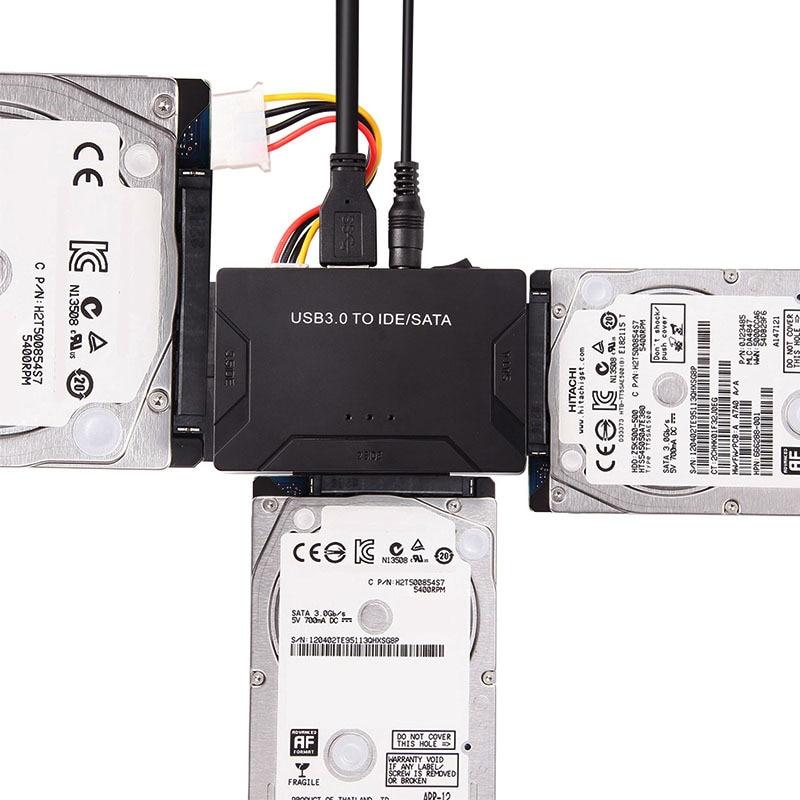 3 em 1 IDE SATA para USB Adaptador USB 3.0 para SATA IDE ATA Conversor de Dados HUB para 2.5