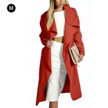 2018 Manteau D hiver Femmes Large Revers Ceinture Poche Manteau Oversize  Longue Rouge Kaki Noir 5d9275f6a18