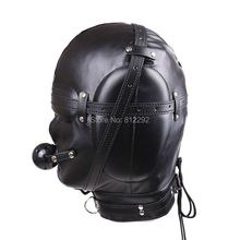 2017 New BDSM Bondage Mask With hollow Mouth Gag SM Totally Enclosed Hood Sex Slave Head Hood Sex Toys For Couples Sex product