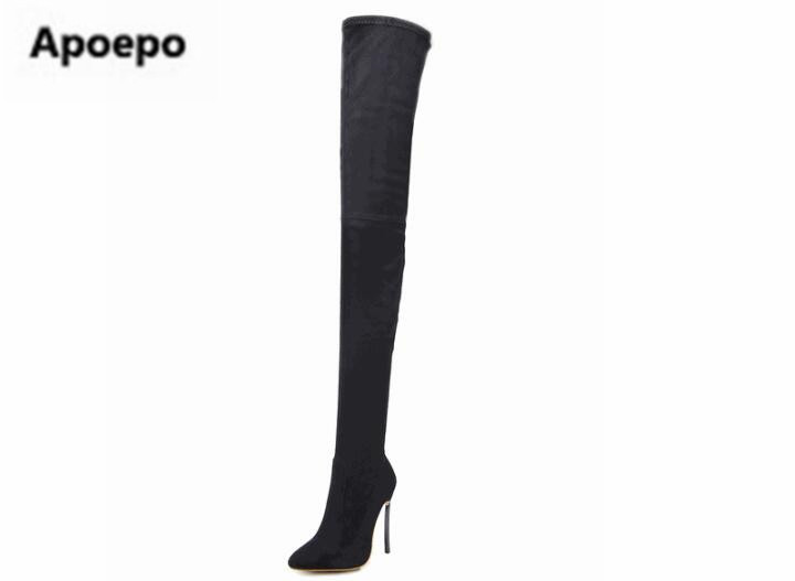 Newest brand winter boots black sexy thigh high boots leather Elastic boots metal high heels shoes women Low price drop shippingNewest brand winter boots black sexy thigh high boots leather Elastic boots metal high heels shoes women Low price drop shipping