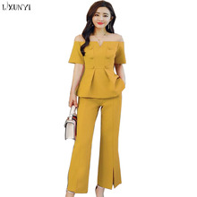 LXUNYI Women 2 Piece Set Top And Pants 2018 Summer Sexy Off Shoulder Formal Slim Women's Spring Fashion Sets Ladies Suits Work