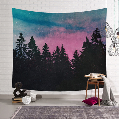 Beautiful Night Sky Wall Tapestry Home Decorations Wall Hanging Forest Mountain Tapestries For Living Room Bedroom tapiz pared