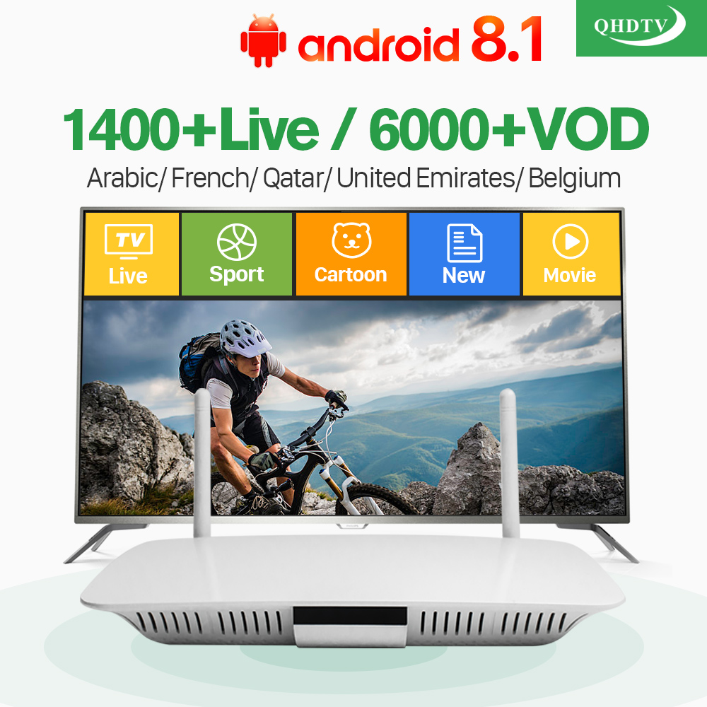 French Arabic IPTV Box Android 8.1 TV Receivers Q1404 with QHDTV 1 Year IPTV Subscription France Arabic Belgium Netherlands r1 arabic french iptv box android 6 0 with qhdtv iptv subscription 1 year iptv belgium netherlands arab france vip sports