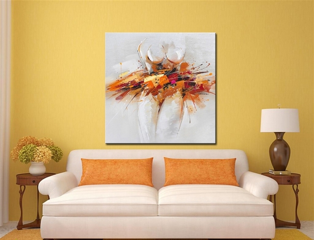 Hand Painted Modern Abstract Oil Painting on Canvas Wall Art for ...