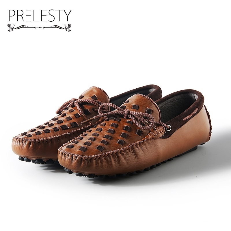 Prelesty Luxury Brand Leather Boat Shoes Mens Top Sider Driving Shoes British Style Handmade Fashion Casual Flats Gorgeous hot sale mens italian style flat shoes genuine leather handmade men casual flats top quality oxford shoes men leather shoes