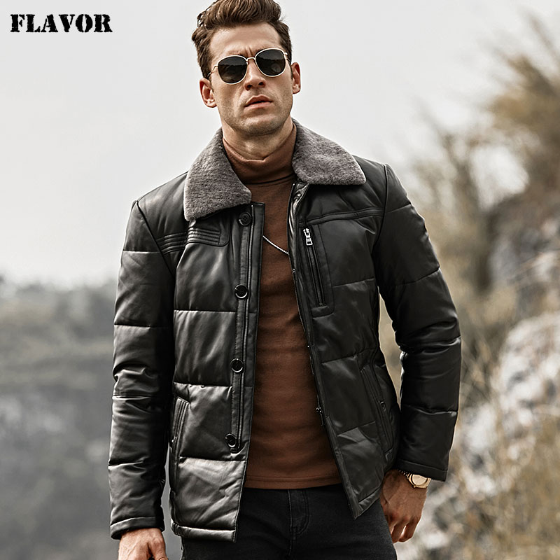 FLAVOR Men's Duck Down Leather Jacket Men Lambskin Genuine Leather Jacket Winter Warm Down Coat With Removable Sheep Fur Collar