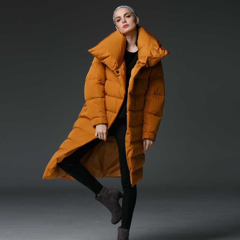 Высокое качество 2019 женский пуховик 90% белый утиный пух длинный необычный большой воротник зимняя куртка толстая верхняя одежда парка