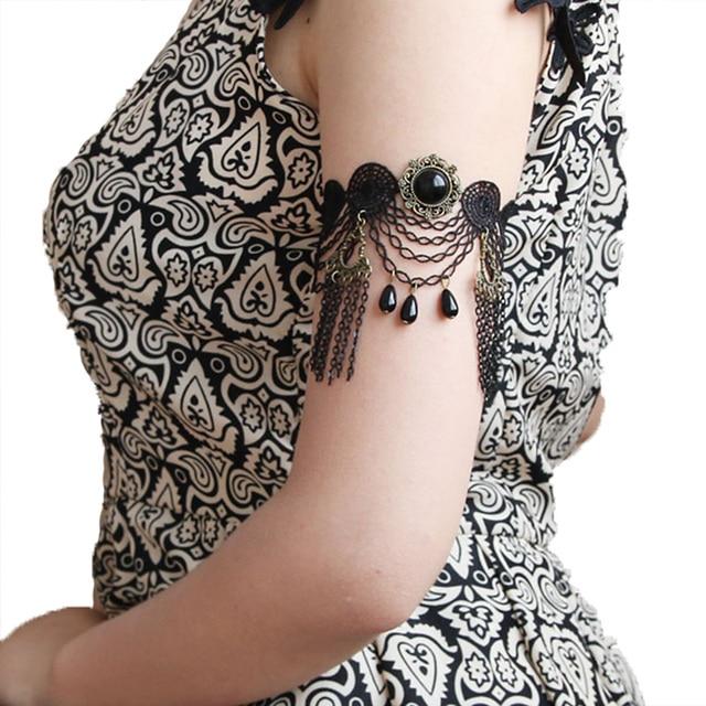 Handmade New Womens Dance Gothic Arm Band Armband Armlet Flower Black Lace  Layered Chain Tassel Bead Drop Bracelet Retro Vintage 5b47c15a73f8