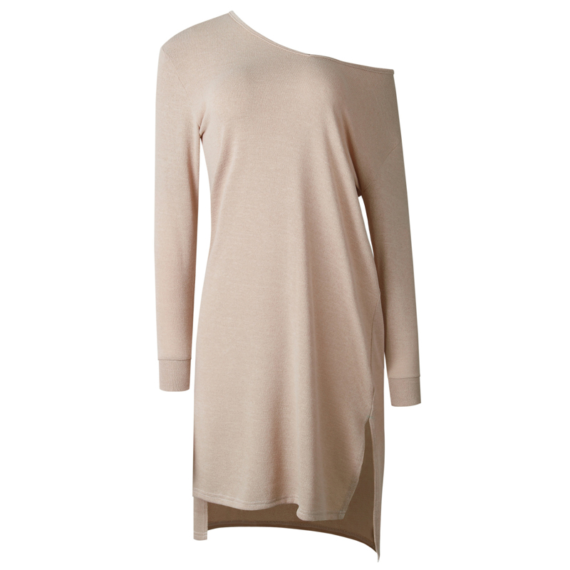 df8ad52bf2c LOSSKY Loose Long Sleeve Sexy Pullover Autumn Winter Casual Jumper Dress V  Neck Split Asymmetrical Women Knitting Sweater Dress-in Dresses from Women s  ...