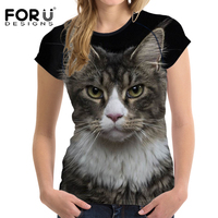FORUDESIGNS Harajuku T Shirt Black Cat Women T Shirt Brand Clothing Casual Short Sleeved 3D Tshirt