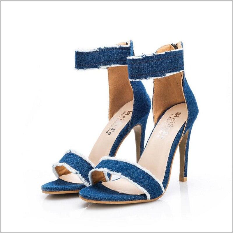 JINJOE Women Desinger Denim Canvas Sandals Stiletto High Heel Shoes Woman Ankle Strap Open Toe concise Simple Sandals Pumps denim zipper hollow worn stiletto womens sandals