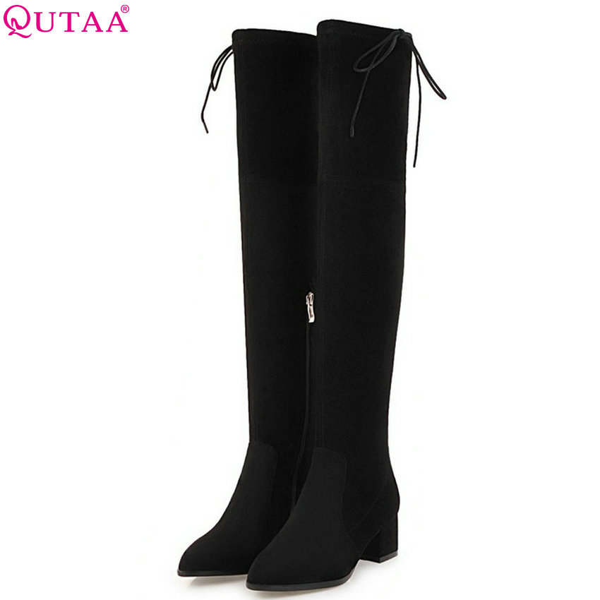 QUTAA 2019 Women Over The Knee High Boots Square High Heel Pointed Toe Fashion Platform Women Motorcycle Boots Size 34-43QUTAA 2019 Women Over The Knee High Boots Square High Heel Pointed Toe Fashion Platform Women Motorcycle Boots Size 34-43
