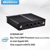 Qotom Mini PC Q190G4N 4 Gigabit LAN j1900 процессор Quad core 2.0 GHz мини пк pfsense