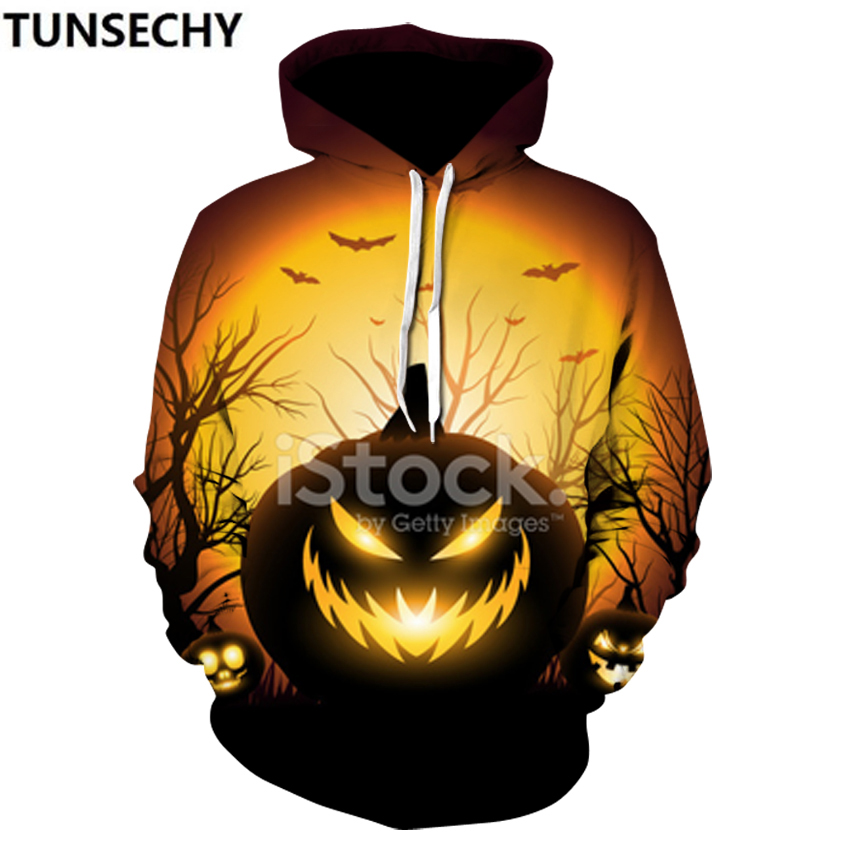 Cross-border sales 20183d printed hooded Halloween pumpkin personal couple outfit retail wholesale