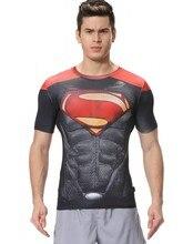 Red Plume Men's Compression  Fitness Wear Sport T-shirt, Superman Man Shirt