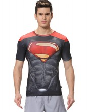 Red Plume Men's Compression  Fitness Wear Sport T-shirt, Superman Man Shirt