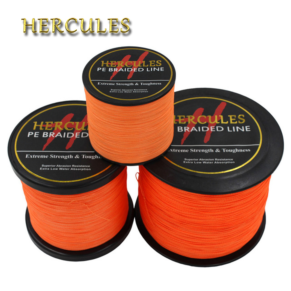 Hercules PE Braided Fishing Line Orange Multifilament Fishing Cord Strong 4 Strands 100M 300M 500M 1000M 1500M 2000M