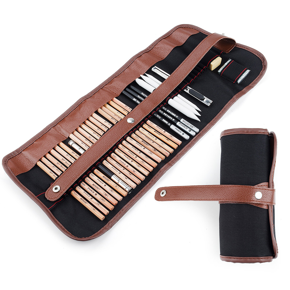 29 Pieces Professional Sketch & Drawing Art Tool Kit With Graphite Pencils, Charcoal Pencils, Paper Erasable Pen, Craft Knife kitdix13058unv20630 value kit ticonderoga groove pencils dix13058 and universal perforated edge writing pad unv20630