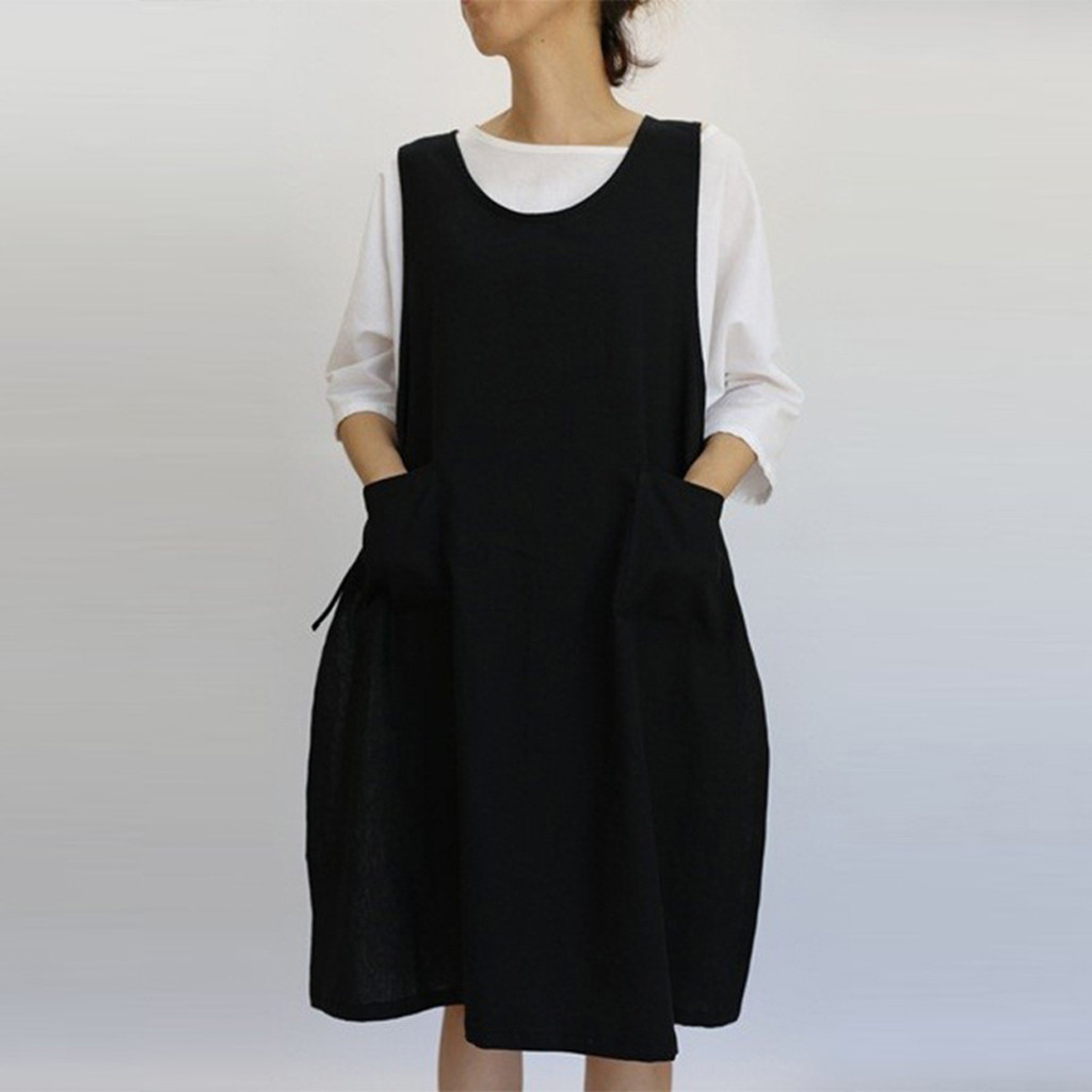 Women Cotton Tunic Dress Casual Apron With Pockets Japanese Style Pinafore Dress Plus Size Dress Vestidos