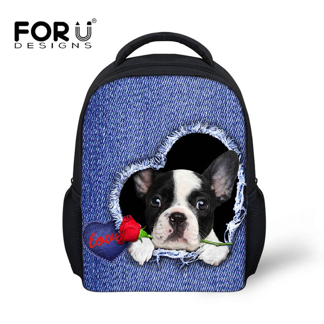 dd6c37c87113 FORUDESIGNS French Bulldog Children School Bags Kindergarten Baby Kids Girls  Knapsacks Mini Toddler Book Bag 2018