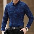 Además de cachemir de invierno nueva camiseta caliente impresión de mediana edad hombres de negocios informal camisa de manga larga de Corea camisa