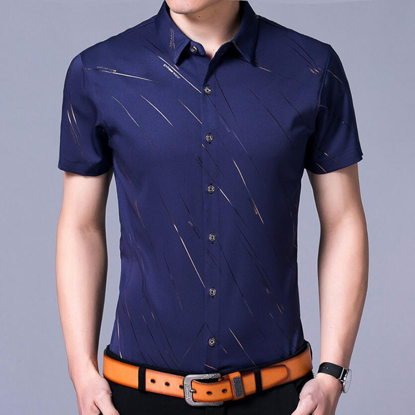 summer men casual cotton high end unique pattern personality solid color male short sleeve turn down collar shirt