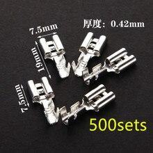 500 conjuntos de 6.3 milímetros com transparente bainha inserido primavera 6.3 milímetros conector Fêmea terminal Faston com isolador para fios