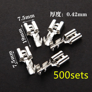 500 zestawów 6.3mm z przezroczystą osłoną włożoną wiosna 6.3mm złącze żeńskie końcówka Faston z izolatorem do drutu