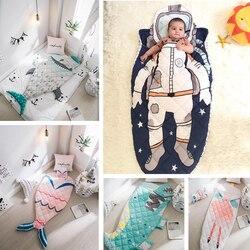Детский спальный мешок, детский конверт с акулой, космонавтом, русалкой для новорожденных, Зимняя Толстая Пеленка, одеяло, постельное белье