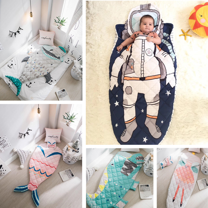Baby Sleeping Bag Children Shark Astronaut Mermaid Envelope For Newborn Infant Winter Thick Swaddle Blanket Wrap Bedding