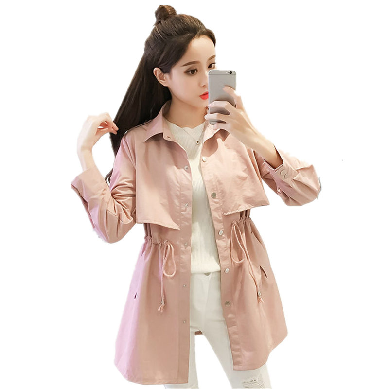 Spring Trench Female Windbreaker Coat Women Clothes Plus Size Pink Trench Coat Casual Slim Long Sleeve Women Trench Coats Q1143