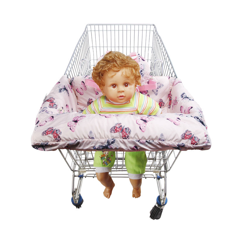 ФОТО 2016 popular fashion portable 100% cotton 2-in-1 baby shopping cart mat  shopping cart cover essential highchair cover