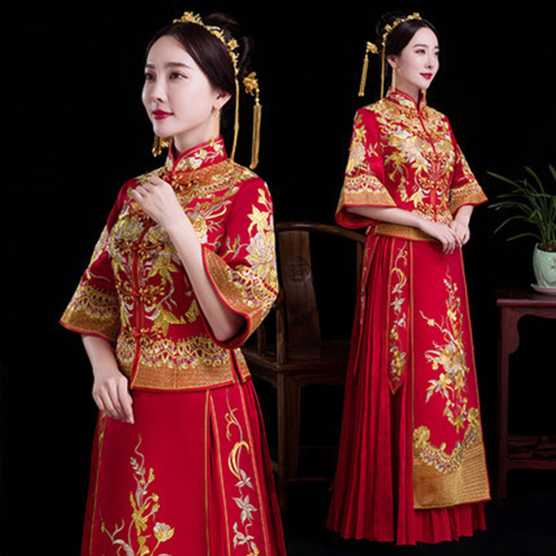 Ancient marriage costume Women Chinese Traditional Dress Bridal Wedding Dress Clothes Chinese National Long Female Party Dress