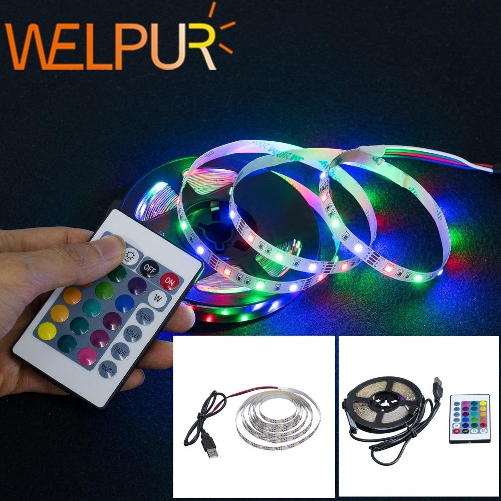 LED Strip Light USB 2835SMD DC5V Flexible LED Lamp Tape Ribbon RGB 0.5M 1M 2M 3M 4M 5M TV Desktop Screen BackLight Diode Tape 1