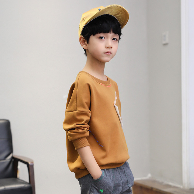 New 2019 boys t-shirts kids long sleeve tees tops clothes solid cotton spring autumn children school t shirt boys kids clothes 1