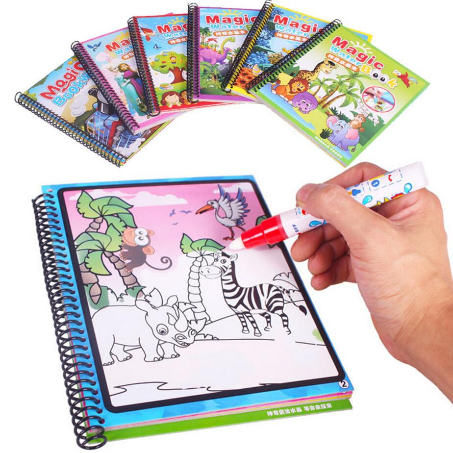 4 Different Patterns Magic Discoloration Water Drawing Book Toys Set tanbook With Magic Pen Education Painting Board stickers4 Different Patterns Magic Discoloration Water Drawing Book Toys Set tanbook With Magic Pen Education Painting Board stickers