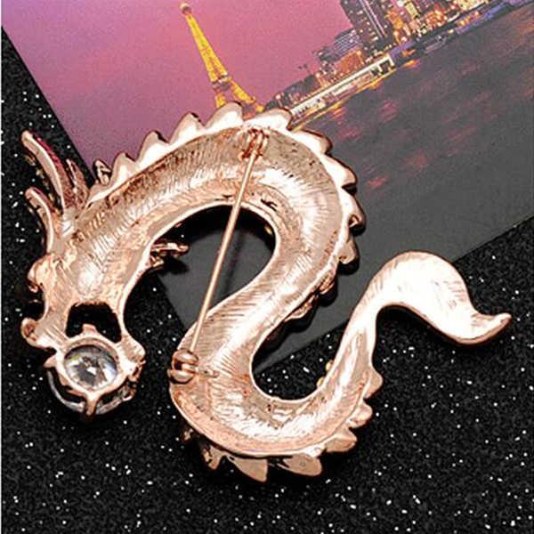 OneckOha Berlian Imitasi Cina Naga Bros Kristal pria Jas Pin Zinc Alloy Animal Bros Pin wanita Perhiasan