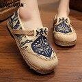2016 Outono Mulheres De Linho Sapatos Casuais Designer de Deslizamento Em Patchwork Mulheres Sapatos de Lazer Respirável Calçados Femininos Lona SNE-159