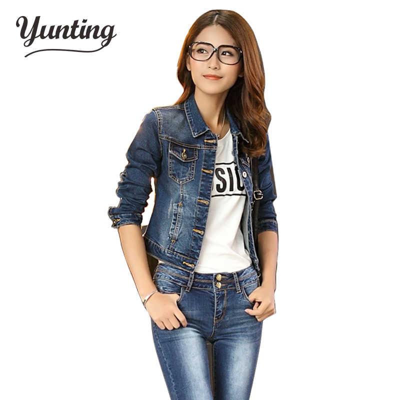 6ec6313164 2019 Spring Women Denim Jacket Long Sleeve Turn-down Collar Short Jeans  Jacket Woman Denim
