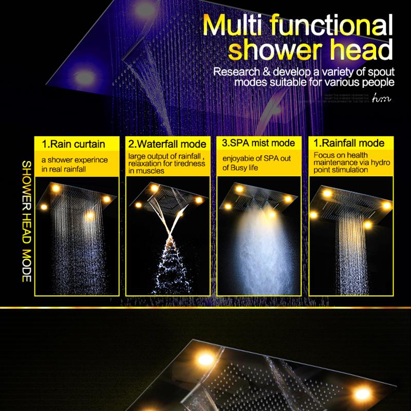 Multi Function Rainfall Shower Heads Led Light Remote Control Shower Head 600800mm Ceiling Rain Shower Waterfall Massage (15)