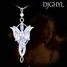 Новая мода циркон серебряного цвета Evenstar ожерелье Арвен Медный кулон 5,0*3,0 см с 50 см цепь Властелин фильм ювелирные изделия для женщин