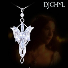 New brand Zircon Silver Color Evenstar Arwen Necklace Copper Pendant 5.0*3.0cm with 50cm Chain The Lord Film Jewelry For Women