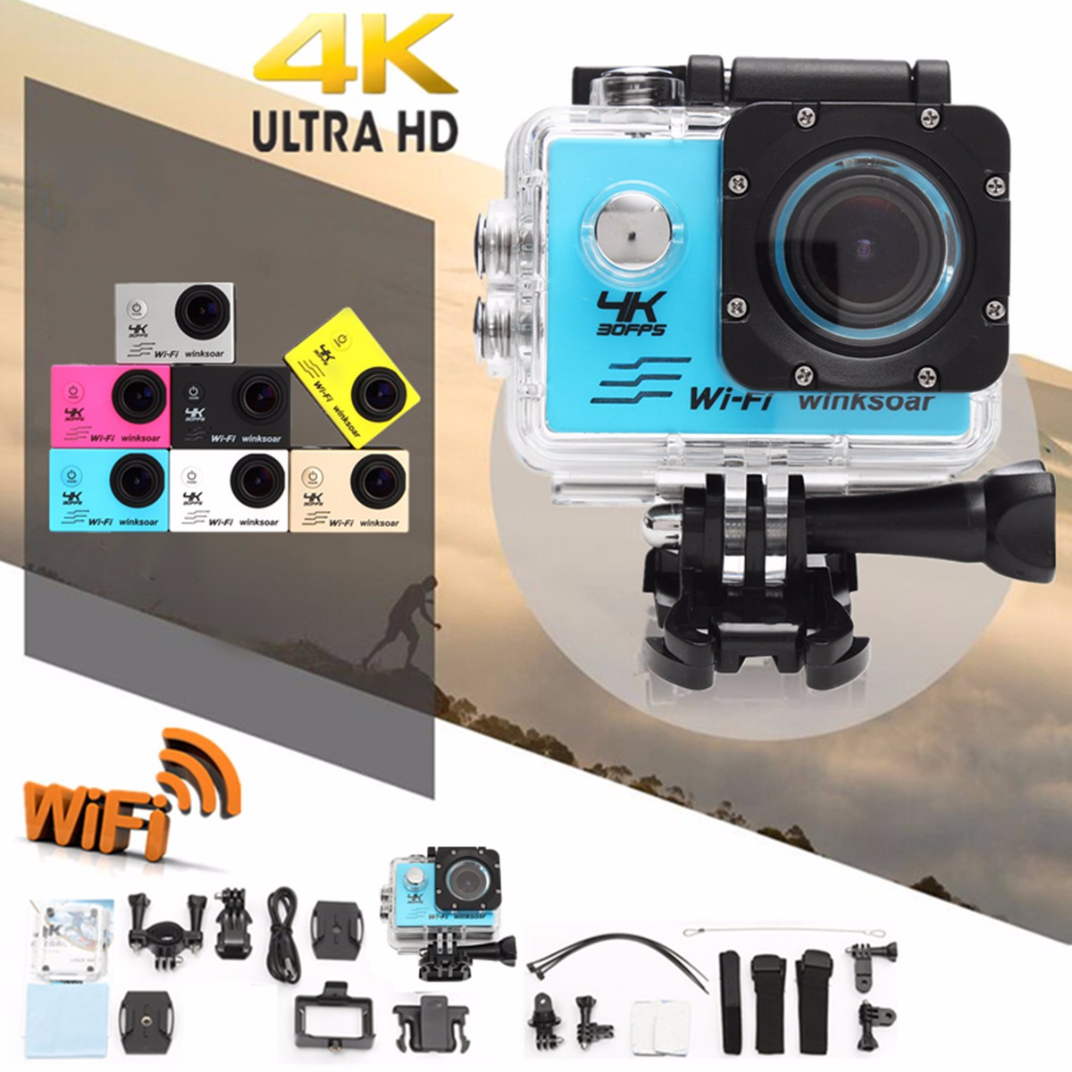 лучшая цена Winsoar SJ9000 4K Ultra HD 120 WiFi 2.0'' Sport Action DV Camera Camcorder Waterproof Silver Gold Blue Pink Yellow White Black