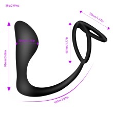 Men's Solid Black Silicone Vibrator with Penis Ring