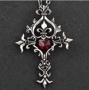 Gothic Sacred Heart Cross Necklace Vintage Pattern Red