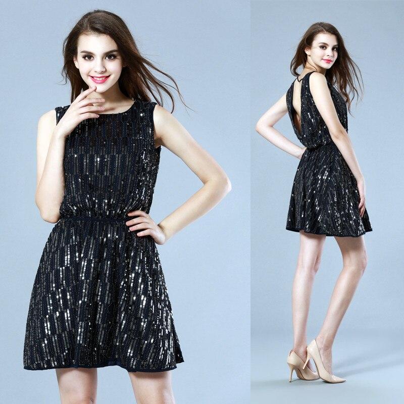 Sparkle Schwarz WeiNs315 Schwarz Kleid ausschnitt Backless Elegante Sexy Frauen Sommer Neuheit V Kleider Luxusrmellos Party jzpqSLMUVG