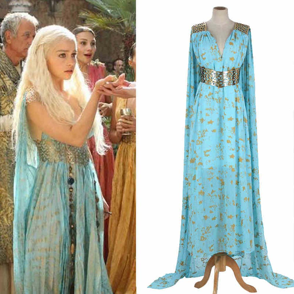 Game Of Thrones Daenerys Targaryen Cosplay Long Blue Dress Costume Stormborn Targaryen The Unburnt Mother of Dragon Cosplay
